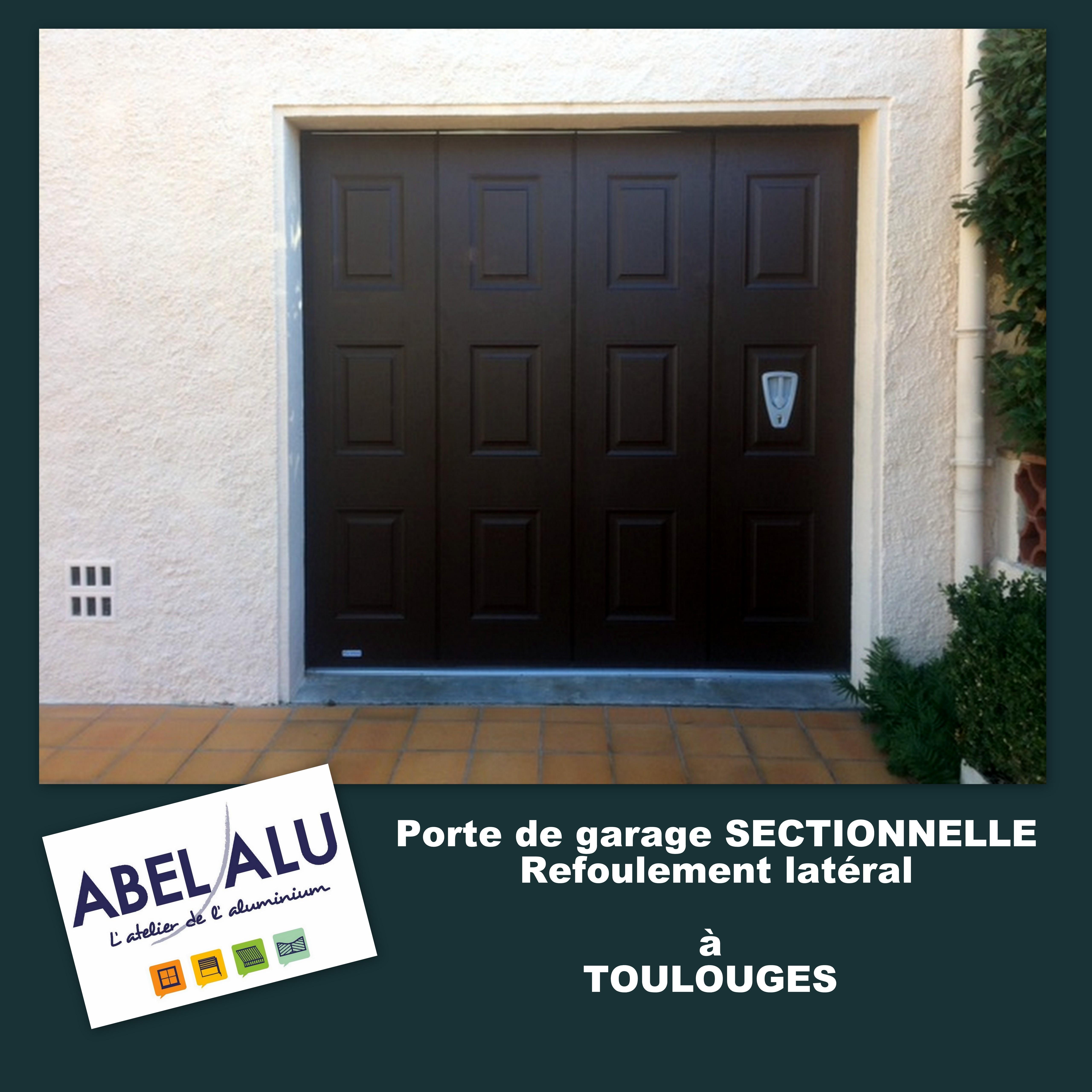 R alisation porte de garage sectionnelle refoulement lat ral toulouges abel alu - Porte garage battant alu ...