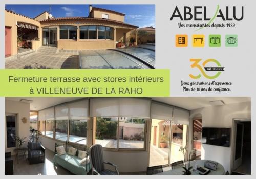 Fermeture terrasse avec stores intérieurs – ABEL ALU